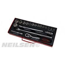 """1/2"""" Drive Heavy Duty 20 PC Socket Set - Metric Sockets 10-32mm + Breaker Bar"""